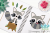 Raccoon Boys Clipart, Instant Download Vector Art example image 3