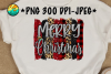 Merry Christmas - Glitter - Plaid - PNG for Sublimation example image 1
