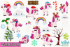 Christmas Unicorns 2 Watercolor Clipart, Instant Download example image 2