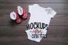 White one-piece baby bodysuit, onesie MOCK-UP example image 1