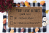 Funny Doormat SVG - Do You Live Here? example image 1
