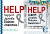 SVG Help Support Juvenile Diabetes, Cut File, FWS472 example image 1
