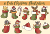 Cute Animals In Christmas Stocking Illustrations example image 2