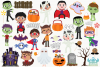 Halloween Trick Or Treaters Boys Clipart, Instant Download example image 2