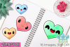 Kawaii Hearts Watercolor Clipart, Instant Download example image 3