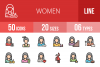50 Women Linear Multicolor Icons example image 1