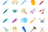 50 Dentist Equipment Flat Multicolor Icons example image 2