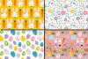 Easter Bunny Digital Paper / Bright Easter Seamless Patterns with bunnies, flowers and Easter eggs / Scrapbooking paper example image 3