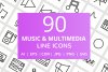 90 Music & Multimedia Line Icons example image 1