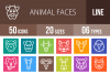 50 Animal Faces Line Multicolor B/G Icons example image 1