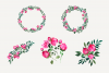 Pink Watercolor Hand Painted Roses Clip Art Set example image 2