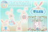Easter Bunny Monogram Bundle Svg Dxf Eps Png Pdf Files example image 1