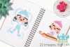 Snow Day Girls Clipart, Instant Download Vector Art example image 3