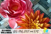 Rose & Dahlia 3D Paper Flowers SVG, DXF, EPS and PNG files example image 1