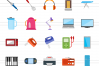 50 Home Electronics Flat Multicolor Icons example image 2