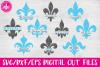Split Fleur de Lis Set - SVG, DXF, EPS Cut File example image 1