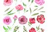 Acrylic watercolor flowers png set example image 2