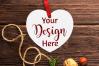 Christmas Heart Ornament Mockup Bundle, Bauble Mock Up, JPG example image 6