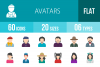60 Avatars Flat Multicolor Icons example image 1