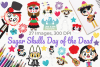 Sugar Skulls Day of the Dead Clipart, Instant Download example image 1