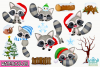 Christmas Raccoons Watercolor Clipart, Instant Download example image 2