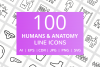 100 Humans & Anatomy Line Icons example image 1