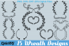 15 Floral Wreath Designs | .SVG .DXF .EPS | Hand Drawn Wreath and Ornament Pack Frame Cutting Digital Files example image 1