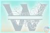 Plumeria Scrollwork Split Letter W SVG Dxf Eps Png PDF files example image 4