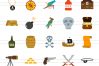 50 Pirate Flat Multicolor Icons example image 2