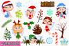 Christmas Fairies 1 Watercolor Clipart, Instant Download example image 2