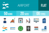 50 Airport Flat Multicolor Icons example image 1