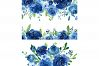 Blue Watercolor Roses Flowers Leaves example image 2