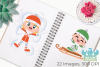 Snow Day Boys Clipart, Instant Download Vector Art example image 3