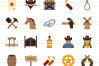 50 Wild West Flat Multicolor Icons example image 2