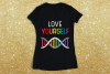 LGBT Love Yourself Rainbow DNA SVG File Cutting Template example image 1