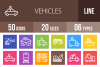 50 Vehicles Line Multicolor B/G Icons example image 1
