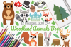 Woodland Animals Boys Clipart, Instant Download Vector Art example image 1