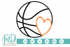Basketball with Heart SVG, DXF, AI, EPS, PNG, JPEG example image 1