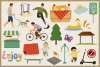 Public Park Vector Clipart and Seamless Pattern example image 3