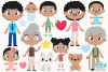 Happy Family 2 Clipart, Instant Download Vector Art example image 2