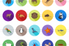 60 Animals & Insects Flat Long Shadow Icons example image 2