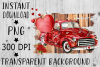 Red Plaid Truck, Valentines Day, Sublimation, PNG example image 1