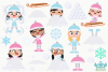 Snow Day Girls Clipart, Instant Download Vector Art example image 2