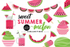Sweet Summer Melon Clipart Graphics & Digital Paper Patterns Bundle example image 1