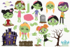 Zombie Girls Clipart, Instant Download Vector Art example image 2