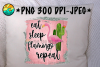 Eat Sleep Flamingo Repeat - Glitter - PNG for Sublimation example image 1