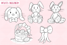 Easter Bunnies Digital Stamps example image 2