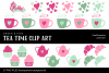 Tea Time Green & Pink Clip Art example image 1