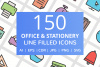 150 Office & Stationery Filled Line Icons example image 1