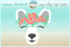 Polar Bear Face With Flowers Svg Dxf Eps Png Svg Files example image 1